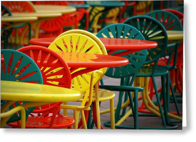 Table And Chairs Photographs Greeting Cards - Chat Room Greeting Card by Linda Mishler