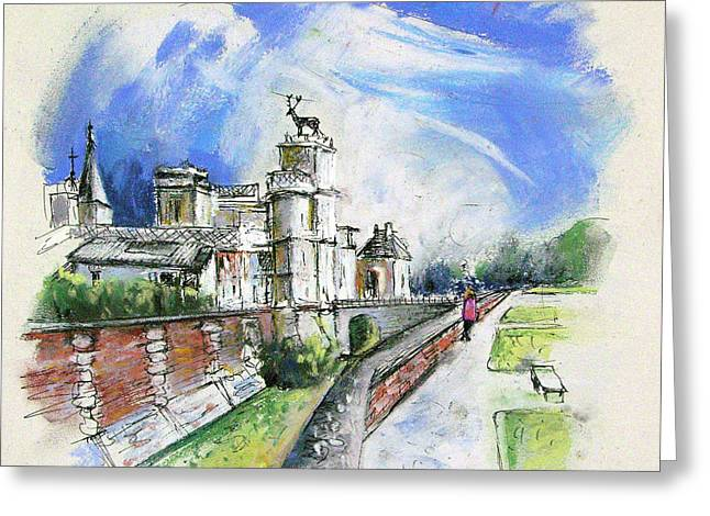 Chateau Drawings Greeting Cards - Chateau  Anet en France Greeting Card by Miki De Goodaboom