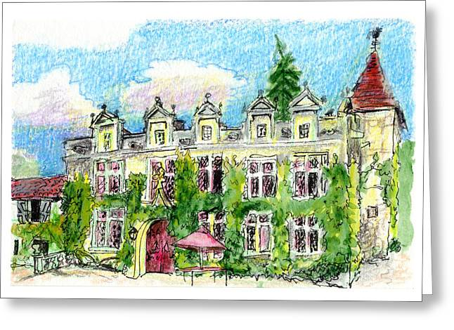 Chateau de Maumont Greeting Card by Tilly Strauss