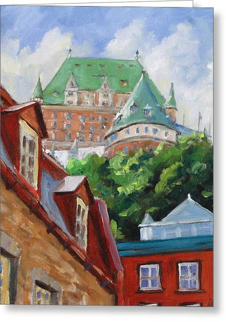 City-scape Greeting Cards - Chateau Frontenac Greeting Card by Richard T Pranke