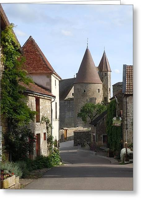 Medieval Village Greeting Cards - Chateauneuf en Auxois Burgundy France Greeting Card by Marilyn Dunlap