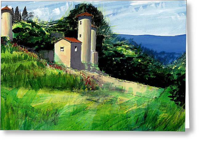 South Of France Mixed Media Greeting Cards - Chateaux de Beaumelles Greeting Card by David Bates