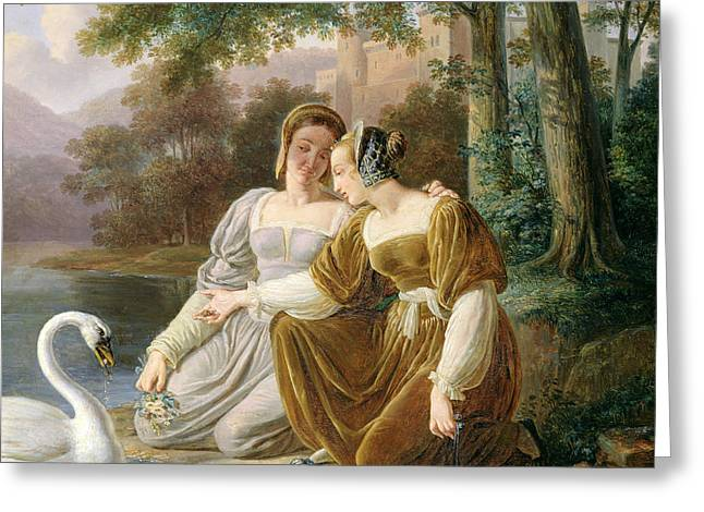 Woman Of The Forest Greeting Cards - Chatelaines Greeting Card by Pierre Henri Revoil
