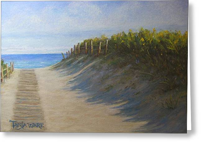 Beach Landscape Pastels Greeting Cards - Chatham Beachwalk Greeting Card by Tanja Ware