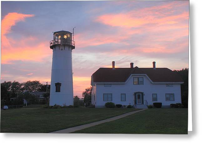 Chatham Lighthouse Greeting Cards - Chatham Lighthouse Sunset Greeting Card by John Burk