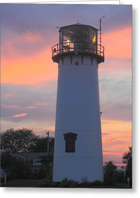 Chatham Greeting Cards - Chatham Lighthouse Tower Sunset Greeting Card by John Burk