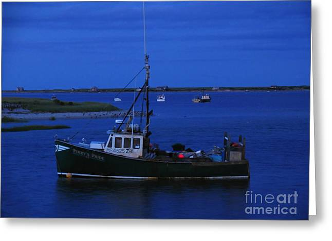 Chatham Pier Fisherman Boat  Greeting Card by Juergen Roth