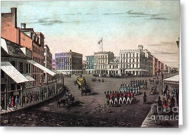 Chatham Greeting Cards - Chatham Square, New York, 19th Century Greeting Card by Photo Researchers