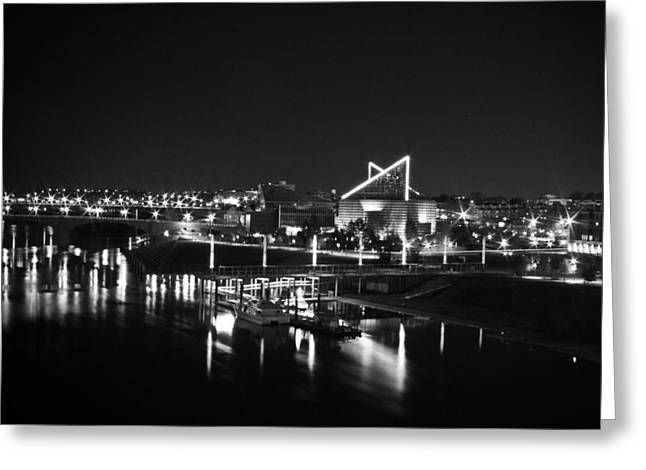 Tennessee Aquarium Greeting Cards - Chattanooga Riverwalk Night Black and White Greeting Card by Larry Underwood
