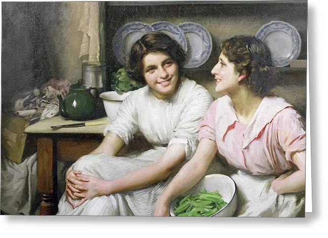 Gossiping Greeting Cards - Chatterboxes Greeting Card by Thomas Benjamin Kennington