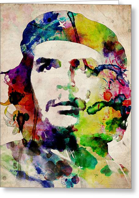 Revolutions Greeting Cards - Che Guevara Urban Watercolor Greeting Card by Michael Tompsett