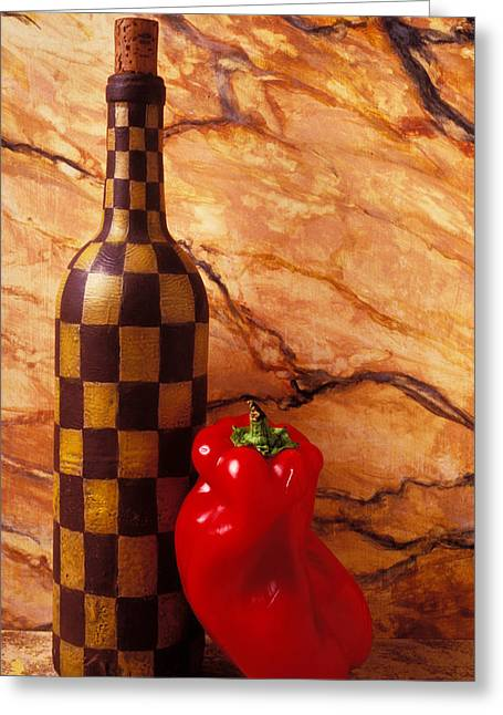 Lean Greeting Cards - Checker wine bottle and red pepper Greeting Card by Garry Gay