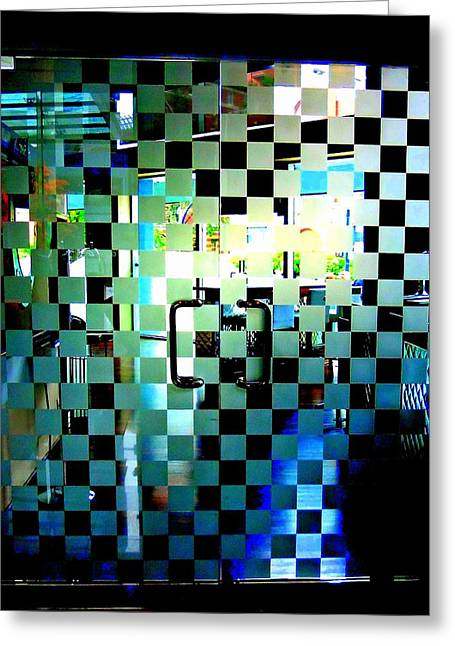 Checkerboard Doors Greeting Card by Randall Weidner