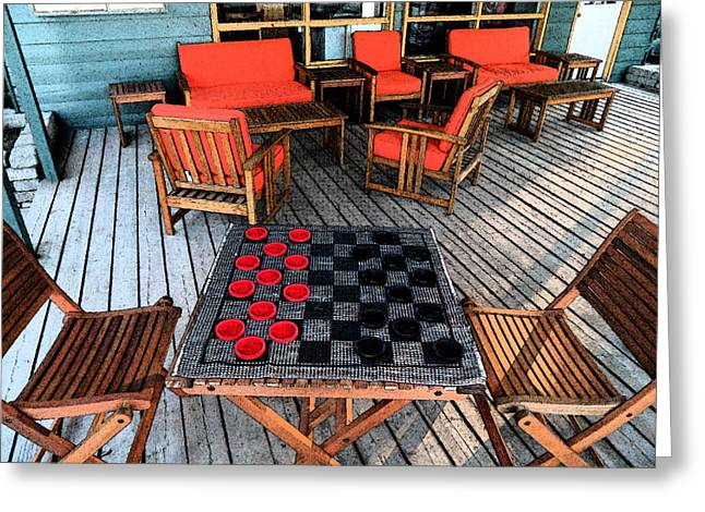 Modern Photographs Greeting Cards - Checkers Anyone - Hope Bay Campground Greeting Card by Cyryn Fyrcyd