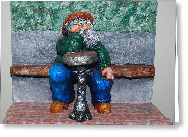 Game Sculptures Greeting Cards - Checkers in the Park Greeting Card by Alison  Galvan