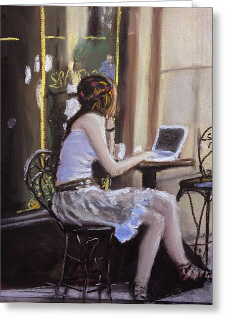 Cafe Pastels Greeting Cards - Checking Her Emails Greeting Card by Paul Mitchell