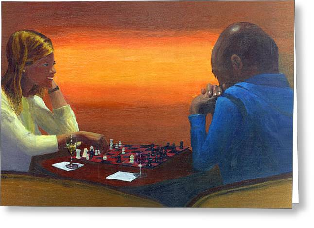 Chess Piece Paintings Greeting Cards - Checkmate Greeting Card by Peter Worsley