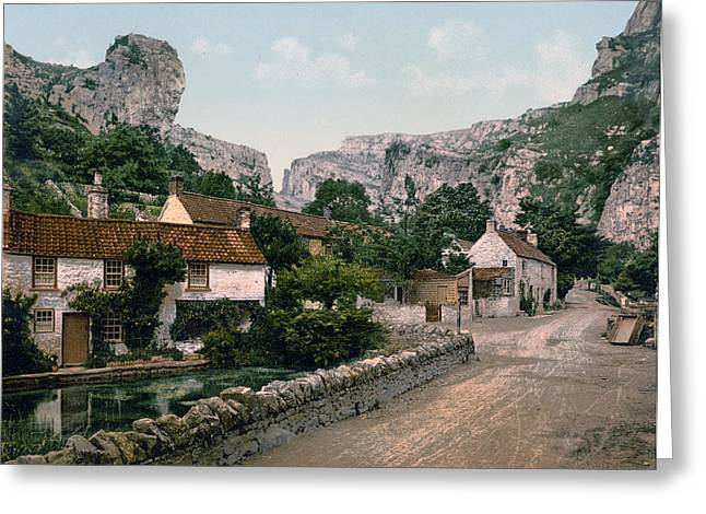 Historic England Greeting Cards - Cheddar - England - Village and Lion Rock Greeting Card by International  Images