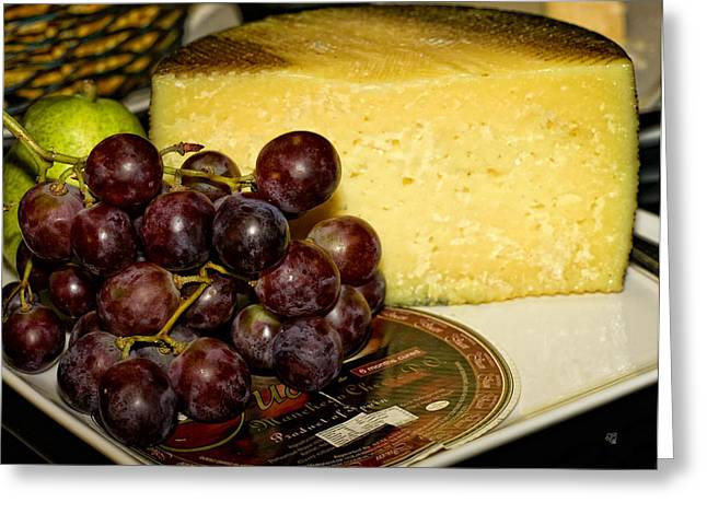 Cheese Green Pears Greeting Cards - Cheese and Grapes Greeting Card by Barbara Middleton