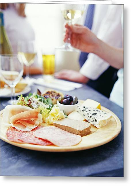 Cheese And Meats Greeting Card by David Munns