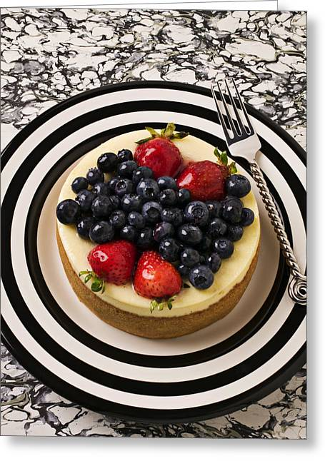 Cheese Cake On Black And White Plate Greeting Card by Garry Gay