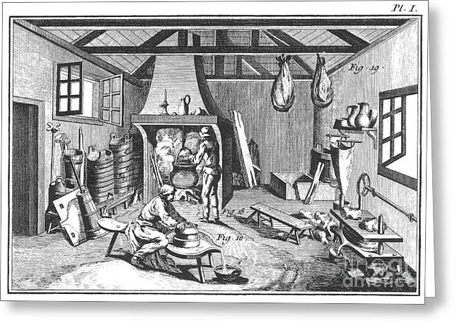 Colonial Man Greeting Cards - CHEESE-MAKING 18th CENTURY Greeting Card by Granger