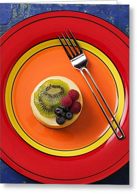 Topping Greeting Cards - Cheesecake on plate Greeting Card by Garry Gay