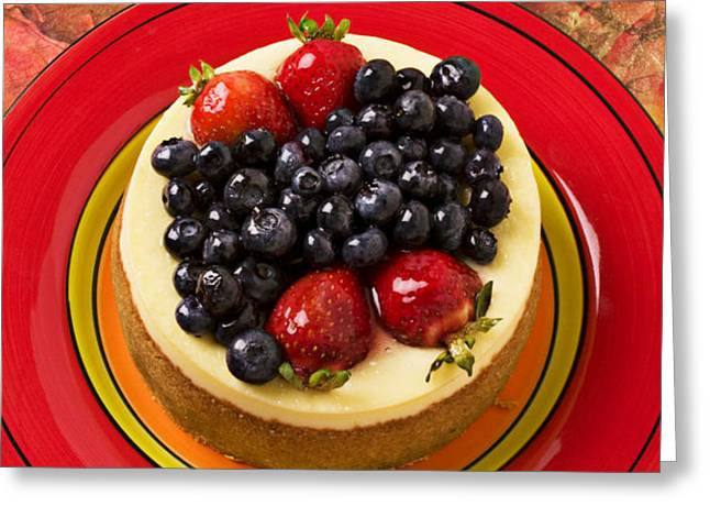 Cheesecake on red plate Greeting Card by Garry Gay
