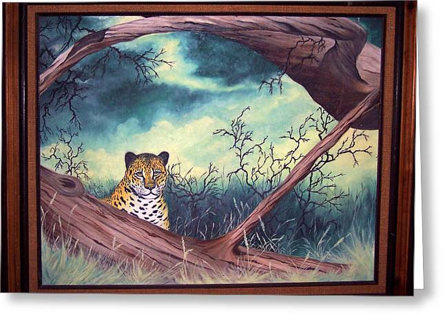 Wildcats Mixed Media Greeting Cards - Cheetah Stare- Oil done at 12 years old Greeting Card by Carol Cavalaris