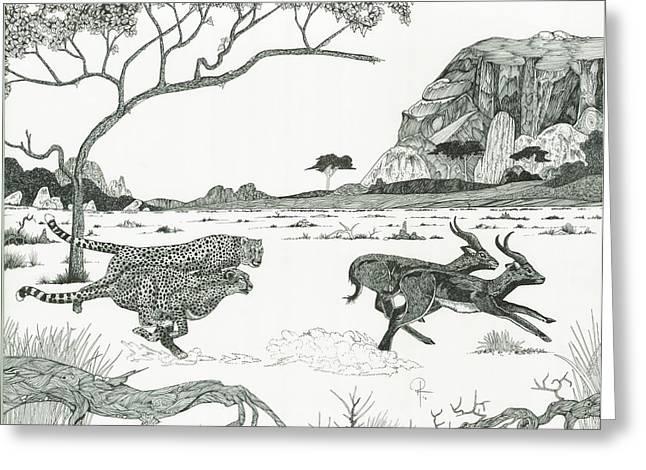 Cheetah Twins  Greeting Card by Doug Hiser