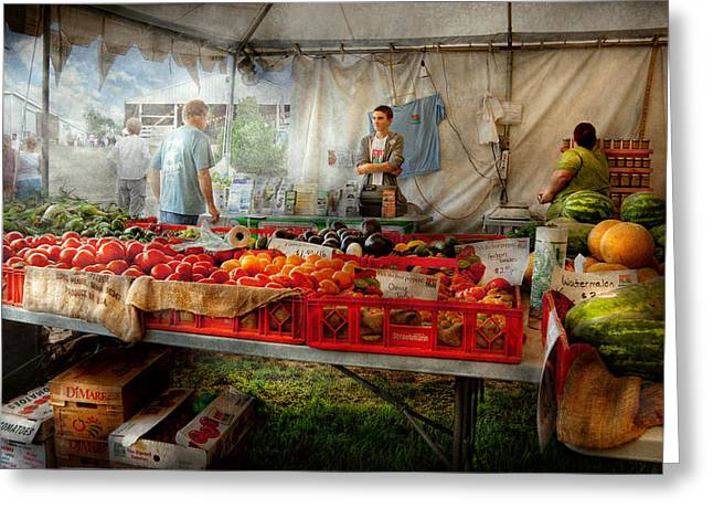 Fruit Stand Greeting Cards - Chef - Vegetable - Jersey Fresh Farmers Market Greeting Card by Mike Savad