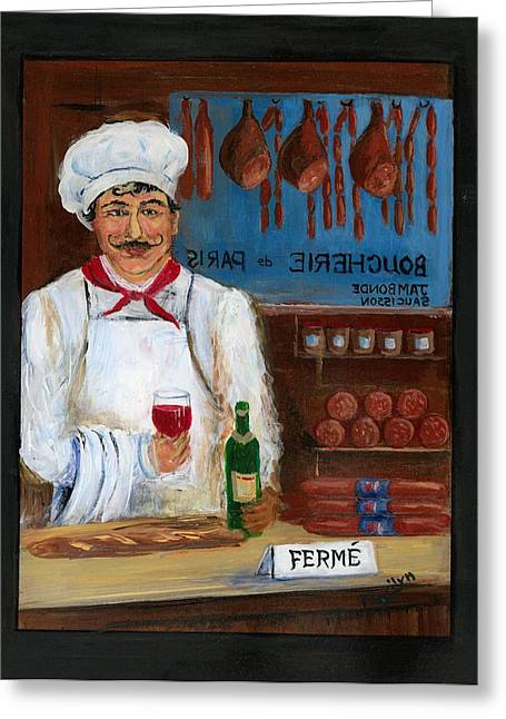 Paris Shops Greeting Cards - Chef at Days End Greeting Card by Marilyn Dunlap