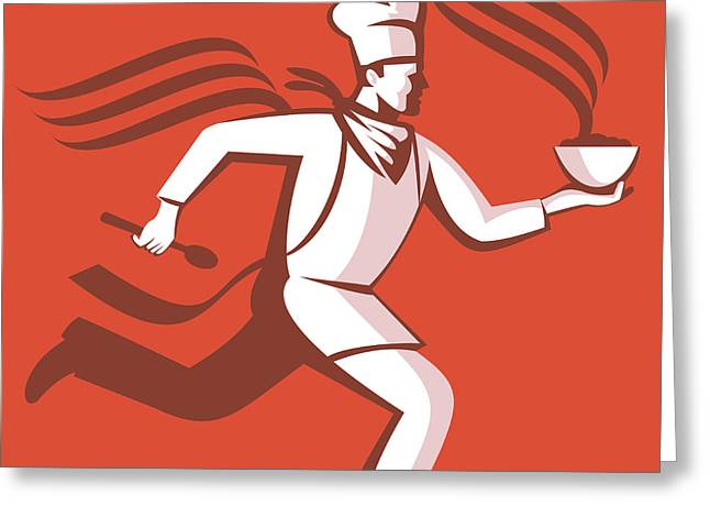 Chef Hat Greeting Cards - Chef Cook Baker Running With Soup Bowl Greeting Card by Aloysius Patrimonio