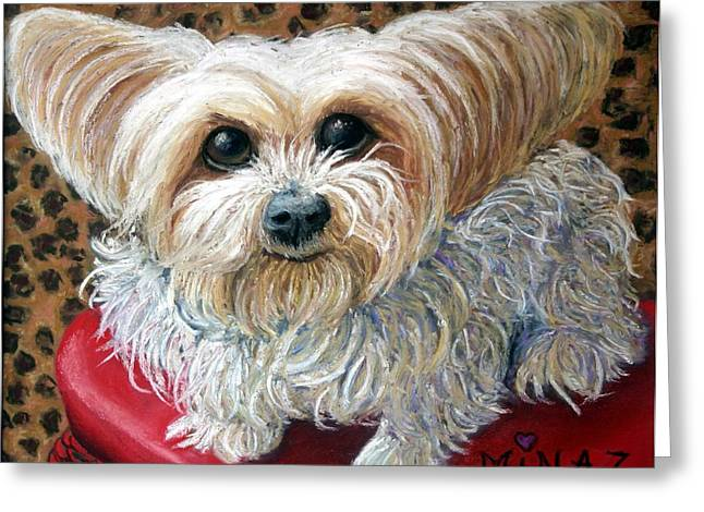 Terrier Pastels Greeting Cards - Chello Je taime Greeting Card by Minaz Jantz