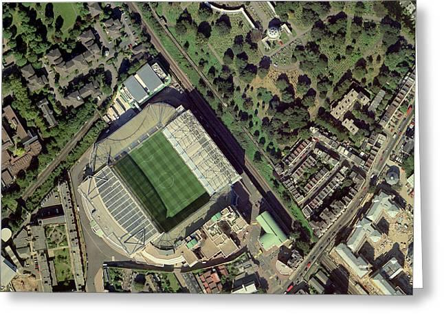 Fulham Fc Greeting Cards - Chelseas Stamford Bridge Stadium, Aerial Greeting Card by Getmapping Plc