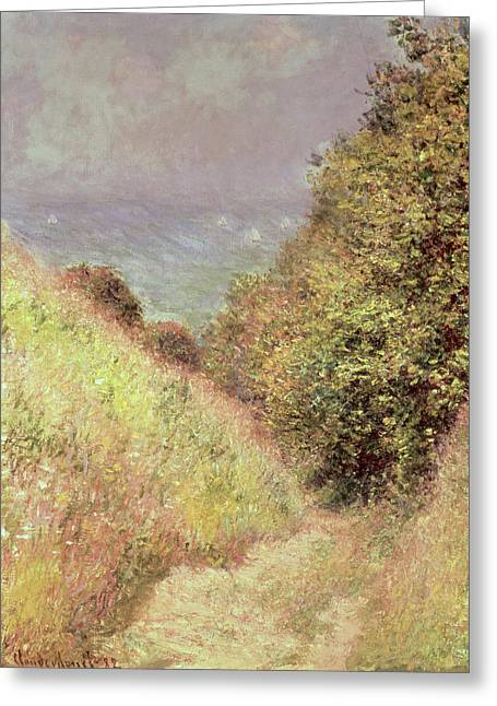 Walking Paths Greeting Cards - Chemin de la Cavee Pourville Greeting Card by Claude Monet