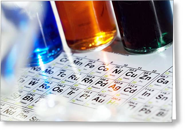 Coloured Glass Greeting Cards - Chemistry Equipment Greeting Card by Steve Horrell