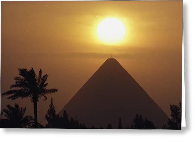 Pharaoh Greeting Cards - Cheops Pyramid, the Greeting Card by George F. Mobley