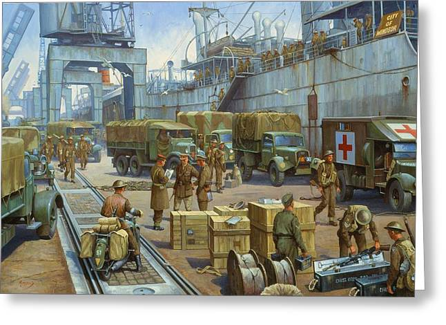 Lorries Greeting Cards - Cherbourg 1940. Greeting Card by Mike  Jeffries