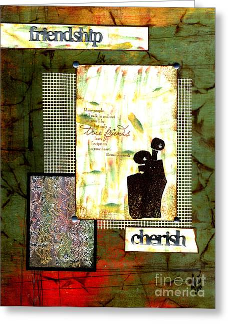 African-american Mixed Media Greeting Cards - Cherished Friends Greeting Card by Angela L Walker
