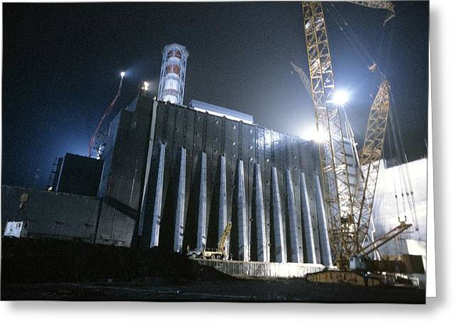 Contaminated Greeting Cards - Chernobyl Power Station Sarcophagus Greeting Card by Ria Novosti