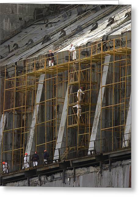 Chernobyl Sarcophagus Repairs, 2006 Greeting Card by Ria Novosti
