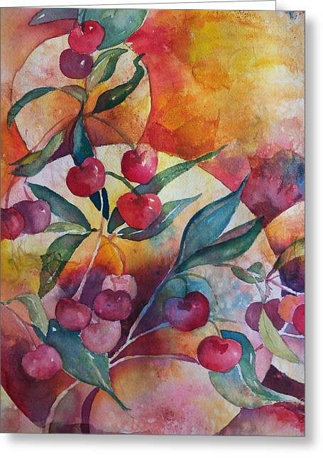 Cherries In The Sun Greeting Card by Sandy Collier