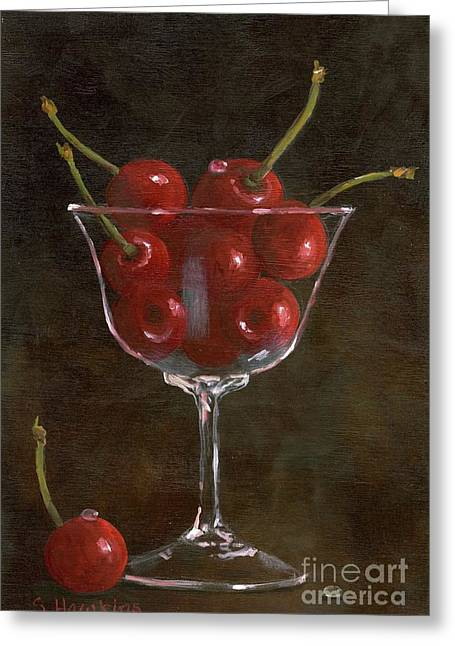 Best Sellers -  - Champagne Glasses Greeting Cards - Cherries Jubilee Greeting Card by Sheryl Heatherly Hawkins