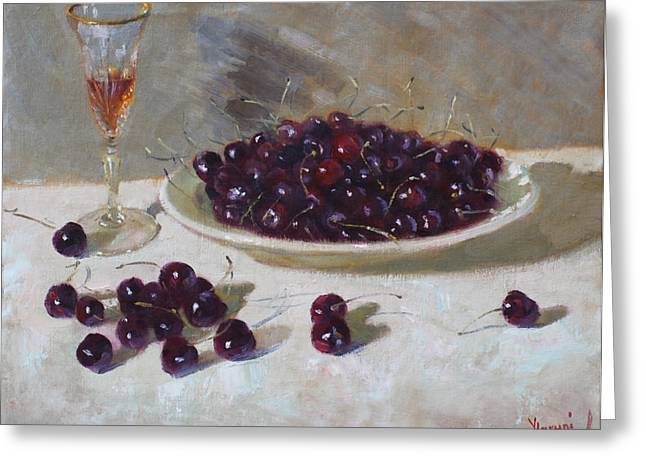 Cherries Greeting Cards - Cherries Greeting Card by Ylli Haruni