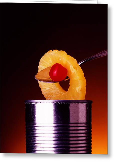 Decor Photography Greeting Cards - Cherry  and Pineapple Greeting Card by Jerry Taliaferro