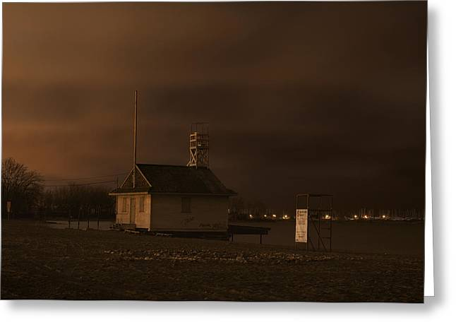 Winter Night Greeting Cards - Cherry Beach Guard Station At Night Greeting Card by Will Burwell