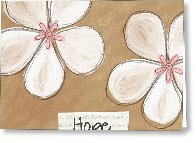 Cherry Greeting Cards - Cherry Blossom Hope Greeting Card by Linda Woods
