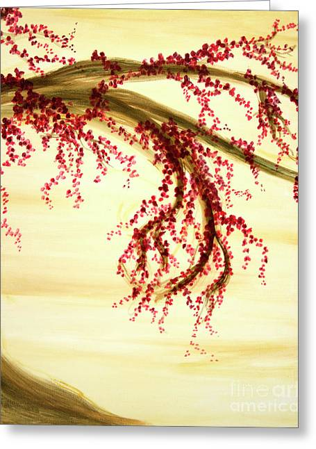 Cherry Blossoms Paintings Greeting Cards - Cherry Blossom Tree Panel 2 Greeting Card by Phung Martin