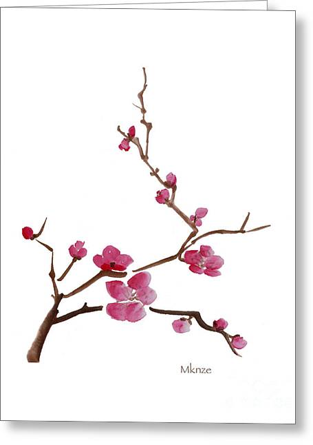 Cherry Blossoms Paintings Greeting Cards - Cherry Blossoms 1 Greeting Card by McKenzie Leopold